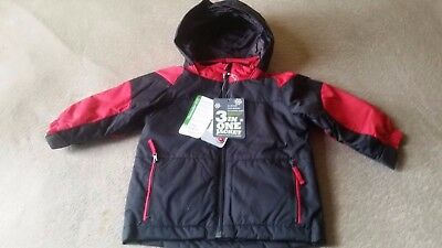 Children's Place TODDLER BOYS 3 in 1 Hooded Coat/Jacket 18-24 months Black/red