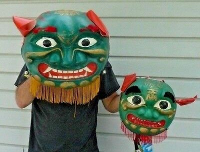 Halloween Chinese Holiday Lion Dragon Parade Mask Vacuum Formed Plastic VINTAGE