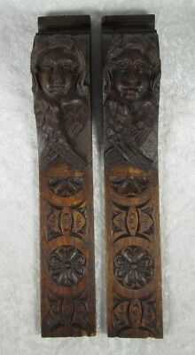 Antique Matched Pair Hand Carved Oak Wood Angel Caryatid Wall Column Sculptures