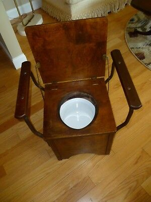 VINTAGE WOOD COMMODE Chamber Pot Chair Box Toilet Seat Porcelain ...