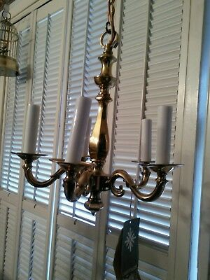 Vintage Small Flemish Traditional Brass Lightolier Chandelier Spain