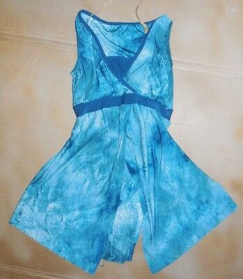 NWOT Praisewear Flyer Top Overdress Wrap Tunic TieDye Ladies Small sky blues