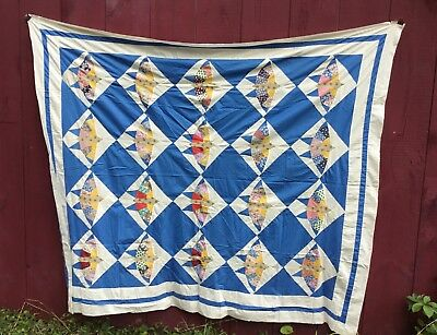 "BIRD PATTERN FOLK ART ANTIQUE QUILT TOP 84"" x 72"" ESTATE FRESH"