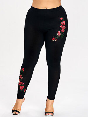 XL-5XL Women's Plus Size Floral Embroidery Leggings Skinny Long Pants Trousers
