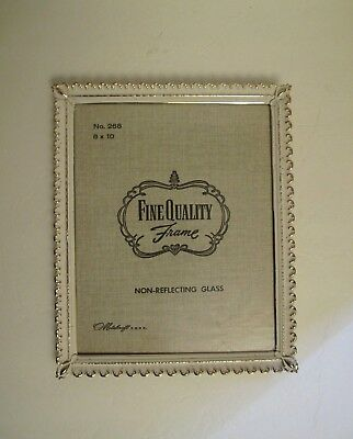 Vintage Gold Metal Photo Picture Frame 8x10 Capped Corners Antique White Wash