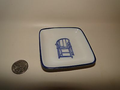 """Porcelain Chinese White & Blue Tang Sauce Plate Dish ~ Pier 1 ~ approx 3.5"""" (Rou"""