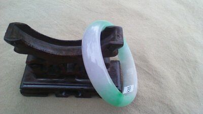60 mm Lavender Green and White Cloud Jadeite Jade Bangle #165 Square Cut