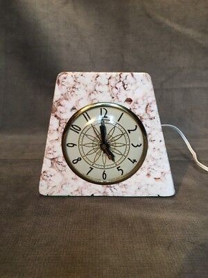 Vintage Lanshire Electric Clock Stone Marble Atomic Retro Chicago USA