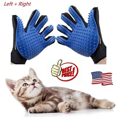 Pet Grooming Gloves Brush Dog Cat Fur Hair Remover Mitt Massage Deshedding Pair