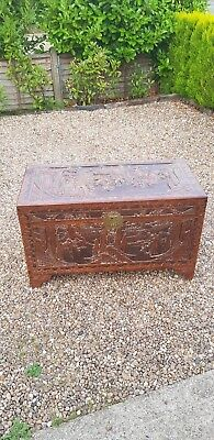 Hand Carved Vintage Large  Asian Camphor Wood Chest