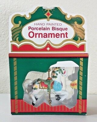 East West Hand Painted Porcelain Bisque Carousel Horse Ornament NIB