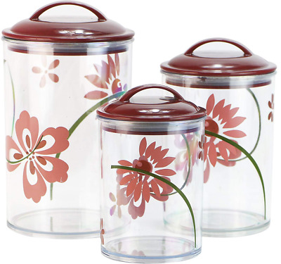 Corelle Coordinates by Reston Lloyd Acrylic Storage Canisters, Set of 3, Pretty