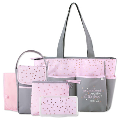fe79c31e9c Personalized 5 in 1 BABY Diaper Bag set Pink Stars Custom Monogram  Embroidered