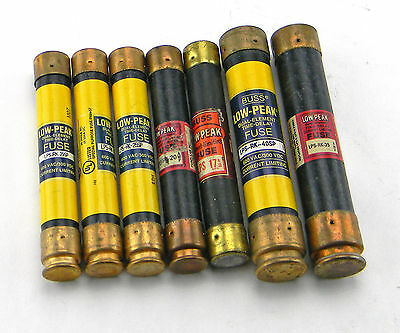 Lot Of 7 Bussmann Low-Peak Dual Element Time-Delay Fuses 40 Amp 35 Amp 25 Amp 20