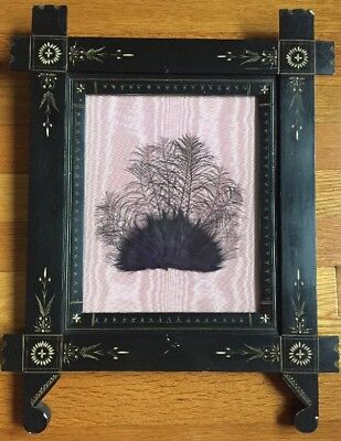 Antique Victorian Exotic Feathers Renaissance Revval Carved Ebonized Frame #2