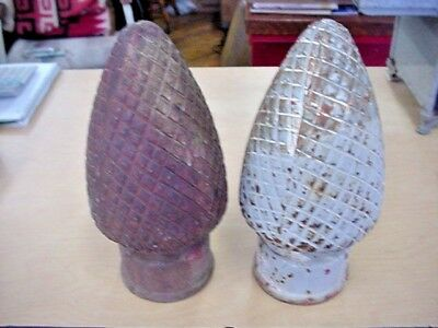 Antique Pair of Cast Iron Architectural Large Finials Pine Cone Design Nice