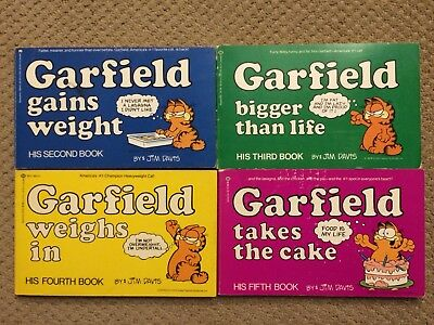 Lot Of 4 Garfield Comic Strip Books #2,3,4,5 Vintage 1981,1982