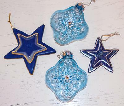 Lot/4 Christmas Blue/Silver/Gold Ornaments Pottery Stars/Blown Glass Snowflakes