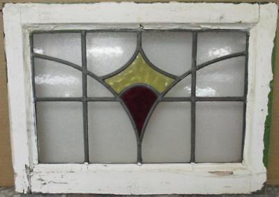 "OLD ENGLISH LEADED STAINED GLASS WINDOW Pretty Geometric Burst 20.5"" x 15"""