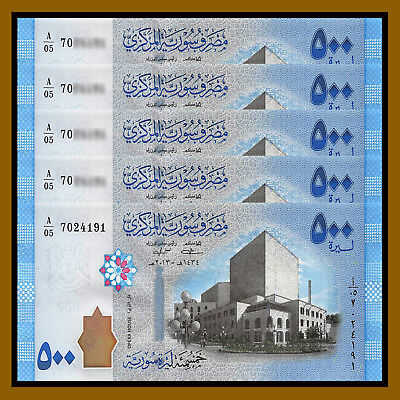 Syria 500 Pounds x 5 Pcs, 2013 P-115 Opera House Unc