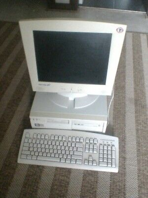 vintage agp pentium computer dvd ram drives keyboard mouse and lcd monitor