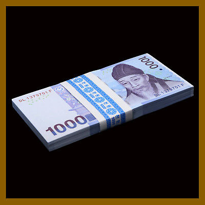 South Korea 1000 (1,000) Won x 100 Pcs Bundle, 2007 P-54a Unc