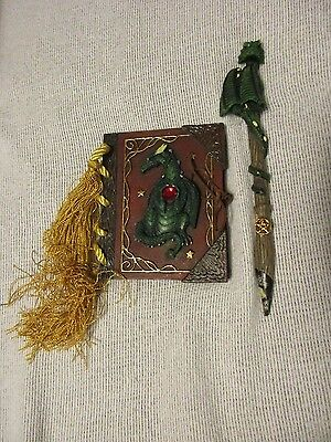 Nemesis Now Dragon Small Spell/Note Wishing Book & Spell Cast Dragon Pen