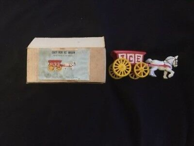 Vintage CAST IRON TOY in BOX - ICE WAGON with HORSE