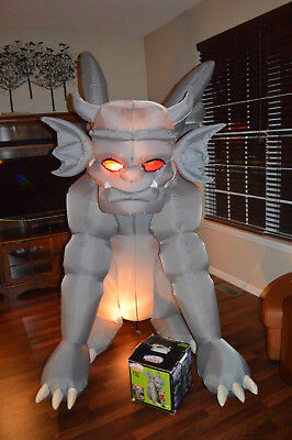 """Gemmy Gargoyle Airblown Inflatable 7"""" Feet Tall Lighted Glowing Red Eyes Tested"""