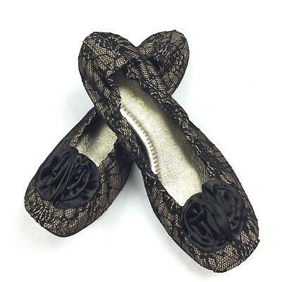 2bded890c Restricted Slip On Size LARGE 9 / 10 Womens Black Lace Nude Ballet Flats EUC