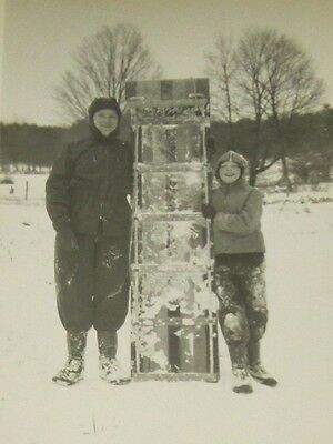 Father Daughter HUGE Snow SLED Vintage 1940's PHOTO Snapshot Snowing Suit Winter