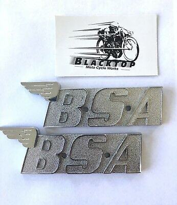 BSA Tank Badges Pair Oil In Frame 1970 -1972 Chrome Plated Express Post #60-2568
