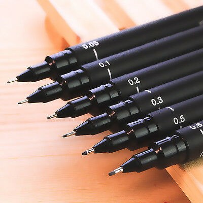 6 X Black Fine Line Pen 005 01 02 03 05 08 Brush Art Supplies Tool w