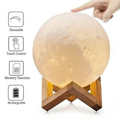 3D Printing Moon Lamp USB LED Night Lunar Light Moonlight Touch Color Changing @