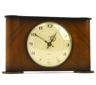 1960s Smiths Sectronic Clock Vintage Battery Wooden Mantel Horology Lounge