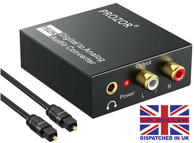 PROZOR DAC Digital SPDIF Toslink to Analog Stereo Audio R/L Converter PS4 XboX