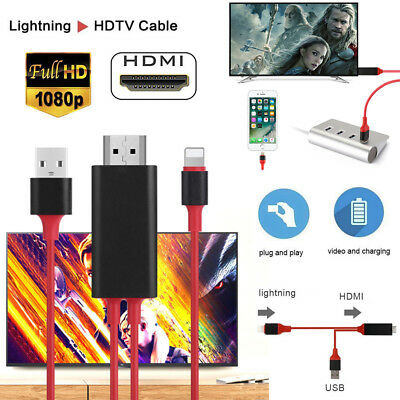 8 Pin Lightning to HDMI TV AV 2M Cable Adapter for iPhone 8 7 7 Plus 6 6s iPad