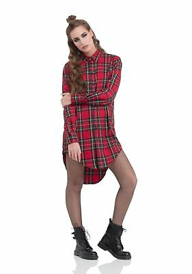Jawbreaker Punk Rock Band Red Plaid Tartan Boyfriend Oversized Shirt Tpa1827