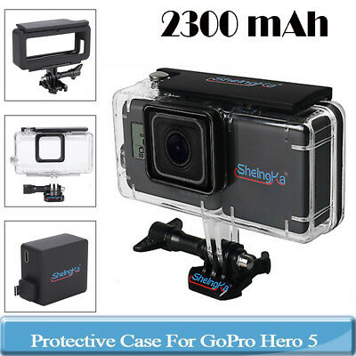 2300MAH Backpack Extended Battery+Waterproof Case Cover For Gopro Hero 5 6 Black
