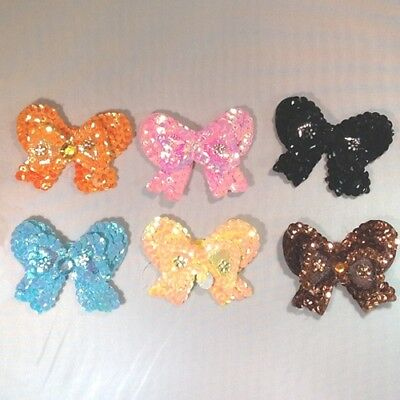 Sequin BOWS 6cm Small - Embroidered Sew on Dance Applique Dressmaking Costumes