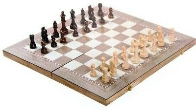 Foldable Wooden 3 in 1 Games Board Game Set- Chess/Checkers/Backgammon Toy Hobby