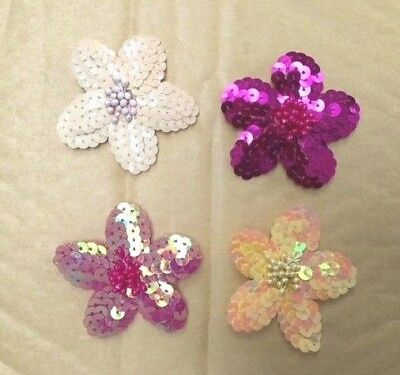 Sequin FLOWERS DAISY 6cm Embroidered Sew on Dance Applique Dressmaking Costumes