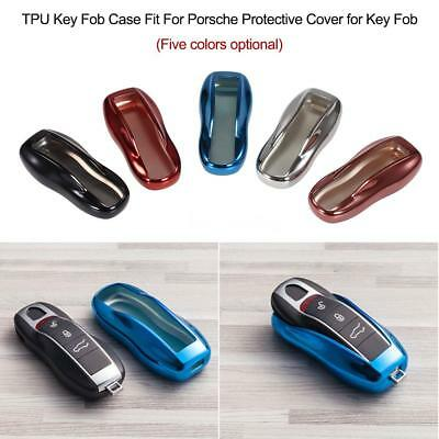 Car Chrome Key Fob Case Cover For Porsche Cayenne Macan Cayman Boxster 718 T0C3