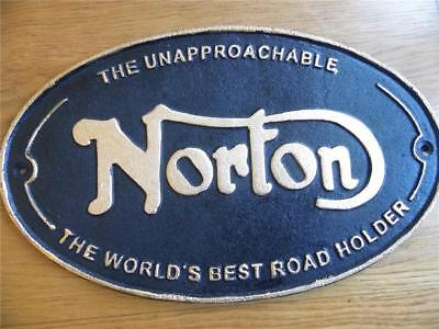Large Cast Iron Plaque Wall Advertising Sign Norton Worlds Best Road Holder-Fab!