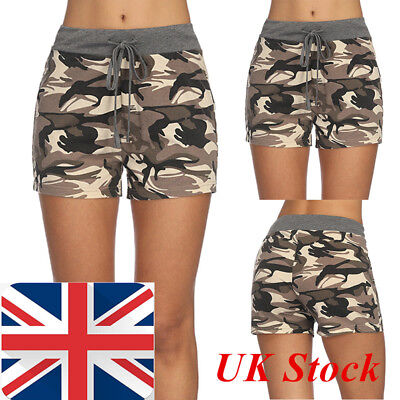 Womens Ladies High Waist Stretch Ripped Camouflage Shorts Summer Hotpants 6-16