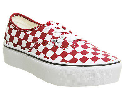4325859a0962 Womens Vans Authentic Platforms Racing Red True White Checkerboard Trainers  Shoe