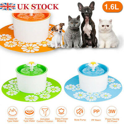 Flower Automatic Pet Drinking Fountain Electric 1.6L Bowl Filter Cat Dog Water