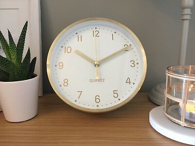 Desk Mantel Wall Clock Metal White Gold Scandi Vintage Retro Style 15cm