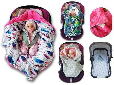 BABEES© WINTER Car Seat Filled Baby Blanket MINKY Swaddle Cosytoes Cotton Wrap