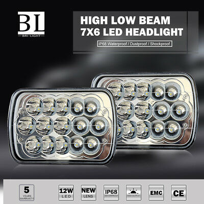 7x6 INCH Sealed Beam Rectangular LED Headlight 5X7 H4 Plug Peterbilt 365 367 2P